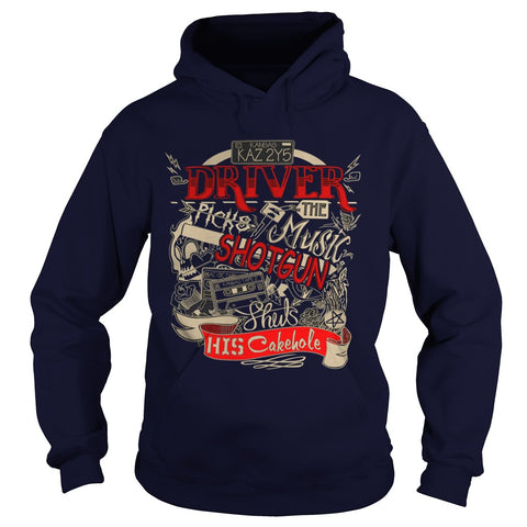 "Picture of navy blue ""Driver Picks The Music"" hoodie for guys."