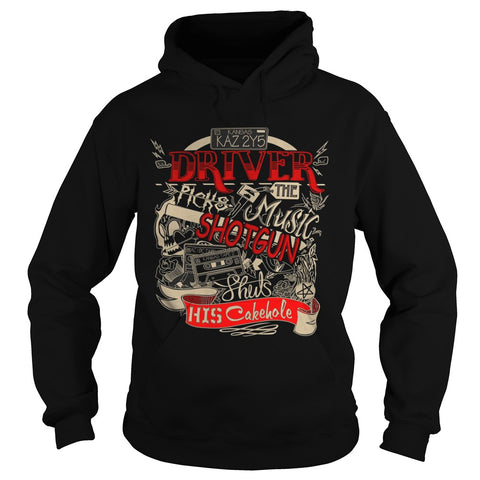"Picture of black ""Driver Picks The Music"" hoodie for guys."
