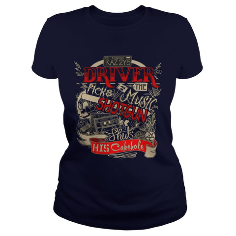 "Picture of navy blue ""Driver Picks The Music"" t-shirt for goddesses."