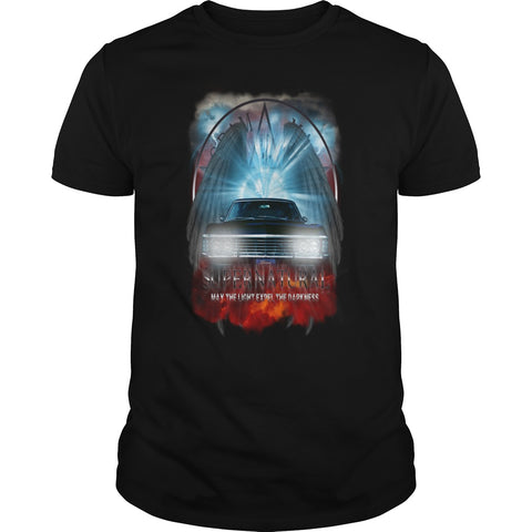 "Picture of black May The Light Expel The Darkness"" T-shirt for men."