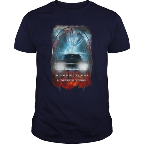 "Picture of royal blue May The Light Expel The Darkness"" T-shirt for men."