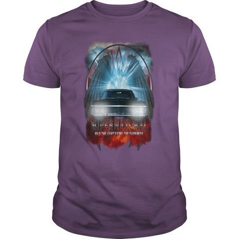 "Picture of purple May The Light Expel The Darkness"" T-shirt for men."