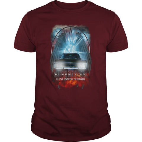 "Picture of maroon May The Light Expel The Darkness"" T-shirt for men."