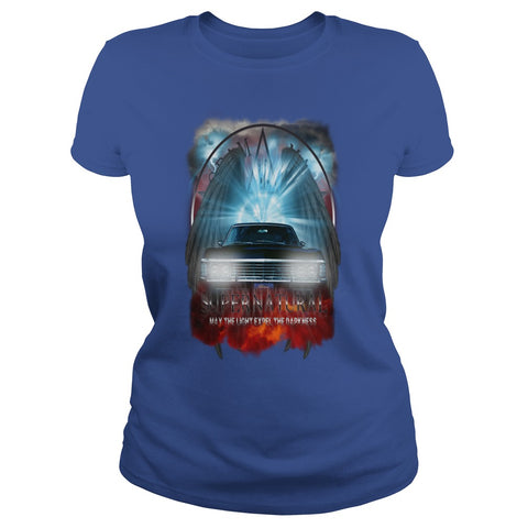 "Picture of royal blue May The Light Expel The Darkness"" T-shirt for women."