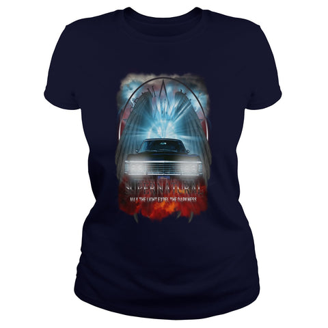"Picture of navy blue May The Light Expel The Darkness"" T-shirt for women."