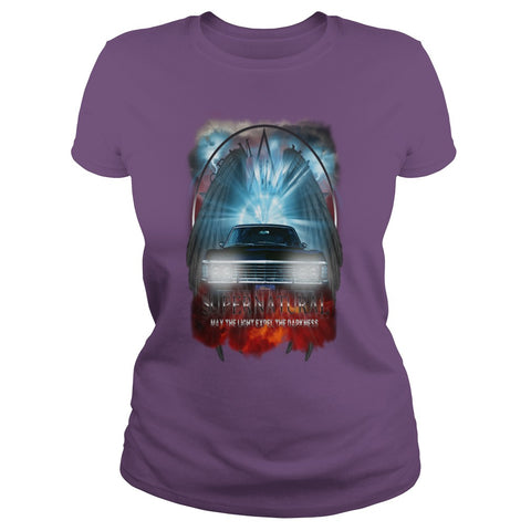 "Picture of purple May The Light Expel The Darkness"" T-shirt for women."
