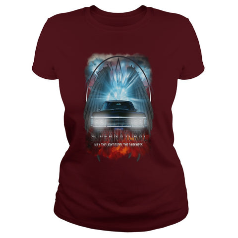 "Picture of maroon May The Light Expel The Darkness"" T-shirt for women."