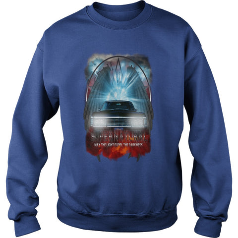 Picture of royal blue Supernatural May The Light Expel The Darkness sweatshirt for guys.
