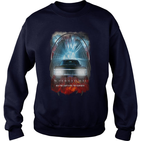 Picture of black Supernatural May The Light Expel The Darkness sweatshirt for guys.