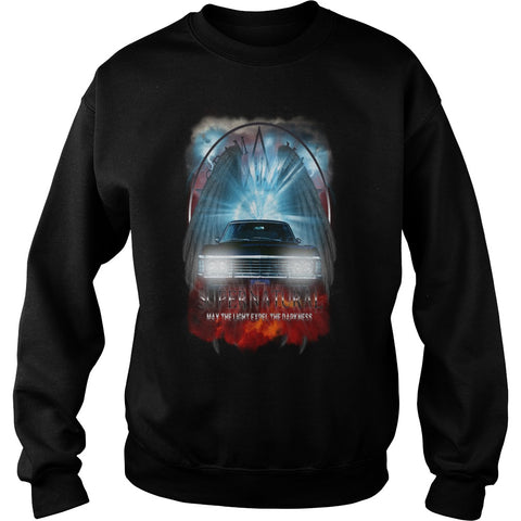 Picture of navy Supernatural May The Light Expel The Darkness sweatshirt for guys.