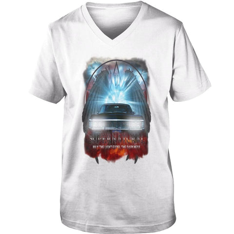 "Picture of white May The Light Expel The Darkness"" V-Neck T-shirt for guys."