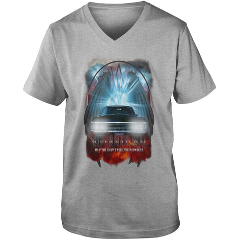"Picture of sports gray May The Light Expel The Darkness"" V-Neck T-shirt for guys."