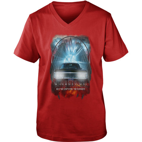 "Picture of redMay The Light Expel The Darkness"" V-Neck T-shirt for guys."