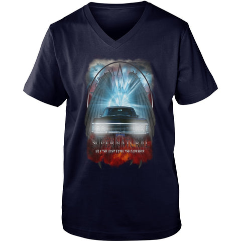 "Picture of navy blue May The Light Expel The Darkness"" V-Neck T-shirt for guys."