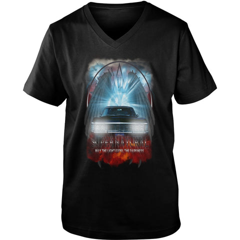 "Picture of black May The Light Expel The Darkness"" V-Neck T-shirt for guys."