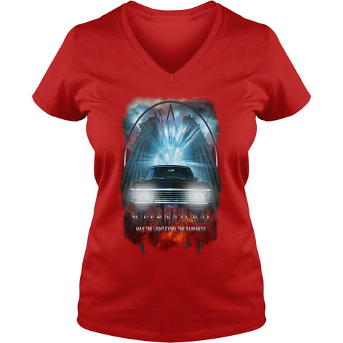 "Picture of red May The Light Expel The Darkness"" V-Neck T-shirt for women."