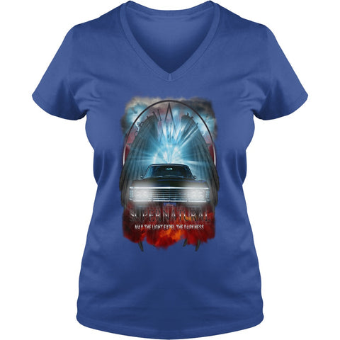 "Picture of royal blue May The Light Expel The Darkness"" V-Neck T-shirt for women."
