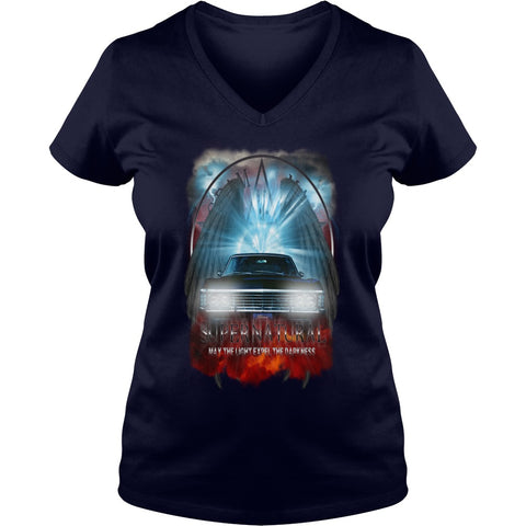 "Picture of navy blue May The Light Expel The Darkness"" V-Neck T-shirt for women."