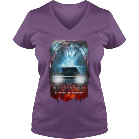 "Picture of purple May The Light Expel The Darkness"" V-Neck T-shirt for women."