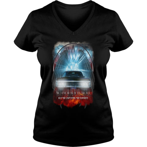 "Picture of black May The Light Expel The Darkness"" V-Neck T-shirt for women."