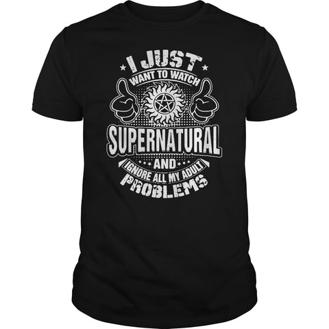 "Picture of black ""I Just Want To Watch Supernatural"" t-shirt for guys."
