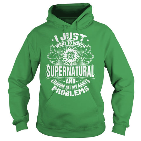 "Picture of green ""I Just Want To Watch Supernatural"" hoodie for guys."