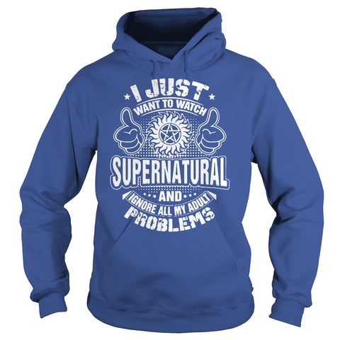"Picture of royal blue ""I Just Want To Watch Supernatural"" hoodie for guys."
