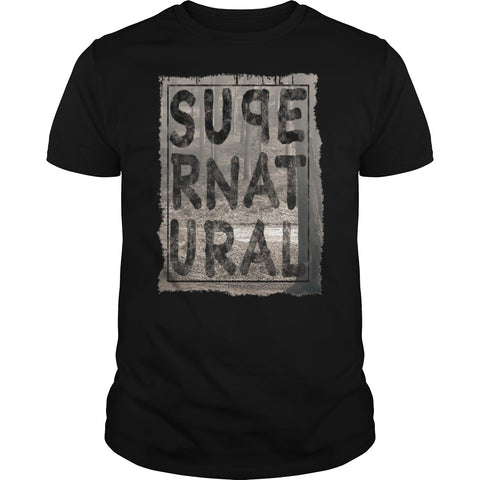 Picture of black Supernatural t-shirt for guys.