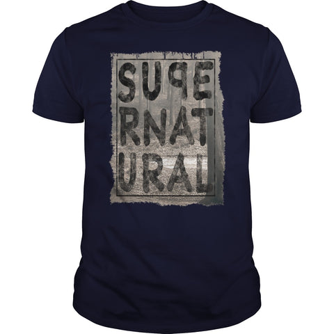 Picture of navy blue Supernatural t-shirt for guys.