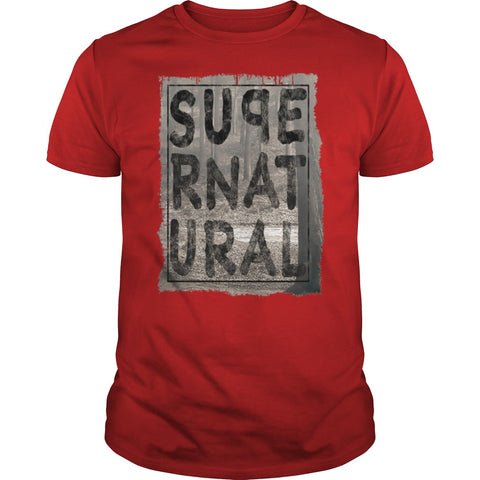 Picture of red Supernatural t-shirt for guys.