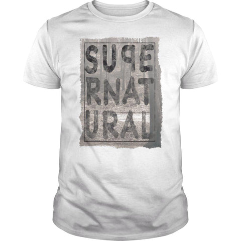 Picture of white Supernatural t-shirt for guys.