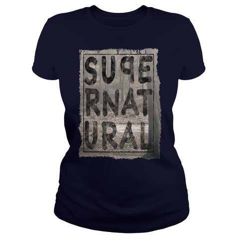 Picture of navy blue Supernatural t-shirt for goddesses.