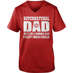 Picture of red Supernatural Dad V-Neck t-shirt.