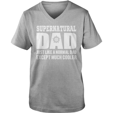 Picture of sports gray Supernatural Dad V-Neck t-shirt.