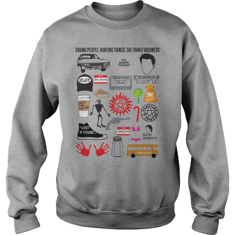 Picture of gray Supernatural Favorites t-shirt sweatshirt.