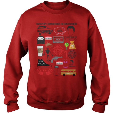 Picture of red Supernatural Favorites t-shirt sweatshirt.
