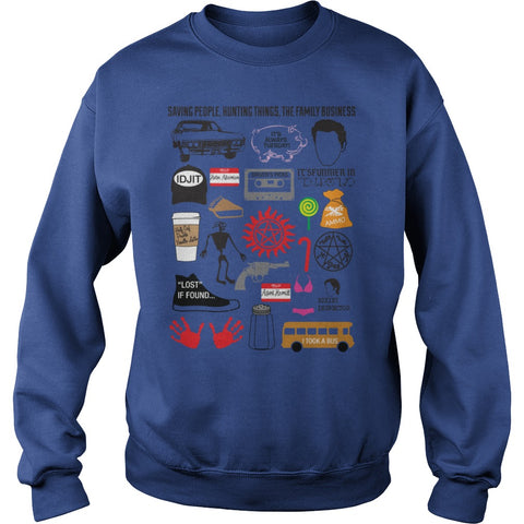 Picture of royal blue Supernatural Favorites t-shirt sweatshirt.