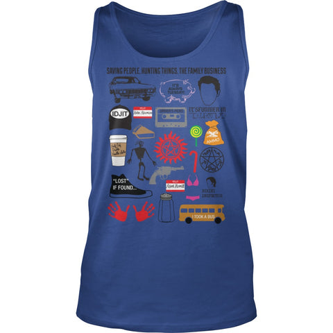 Picture of royal blue Supernatural Favorites tanktop.