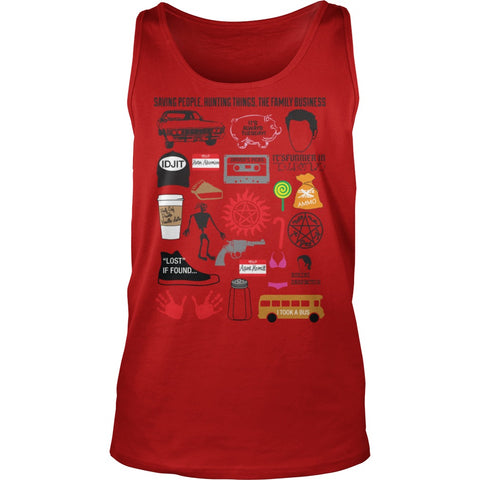 Picture of red Supernatural Favorites tank top.