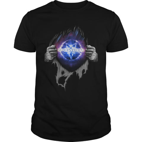 Picture of black Supernatural In My Heart men's t-shirt.