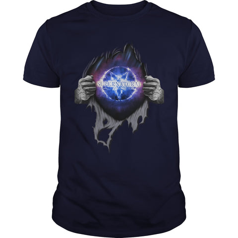 Picture of navy blue Supernatural In My Heart men's t-shirt.