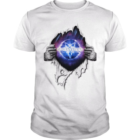 Picture of white Supernatural In My Heart men's t-shirt.