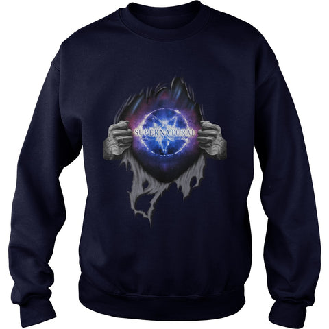 "Picture of navy blue ""Supernatural In My Heart sweatshirt."