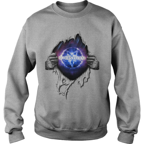 "Picture of gray ""Supernatural In My Heart sweatshirt."