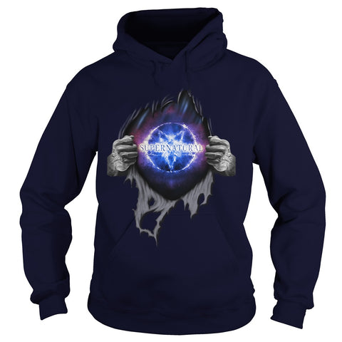 "Picture of navy blue ""Supernatural In My Heart hoodie."