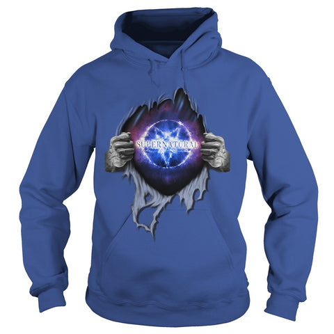 "Picture of royal blue ""Supernatural In My Heart hoodie."