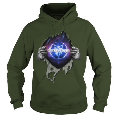 "Picture of Forest Green ""Supernatural In My Heart hoodie."