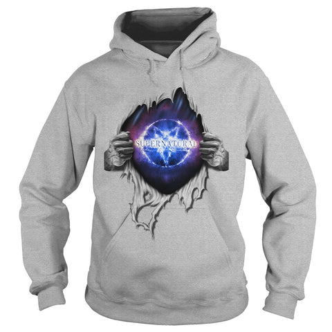"Picture of sports gray ""Supernatural In My Heart hoodie."