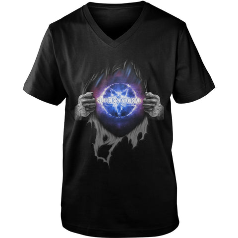 "Picture of black ""Supernatural In My Heart men's v-neck t-shirt."