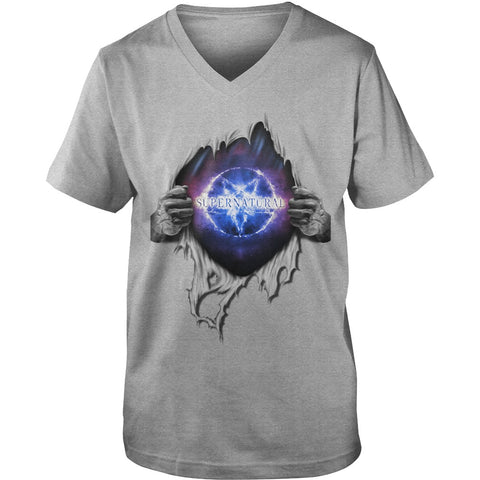 "Picture of gray ""Supernatural In My Heart men's v-neck t-shirt."